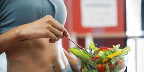 sport woman with healthy food