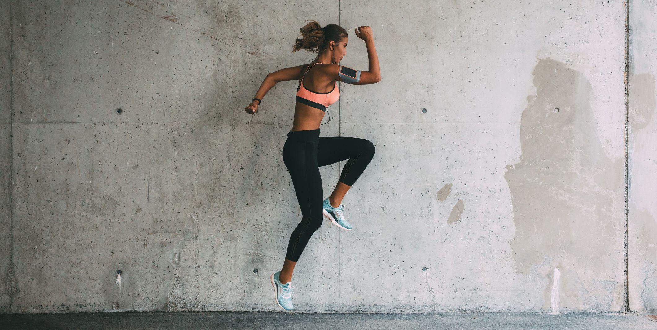 Sportswoman jumping