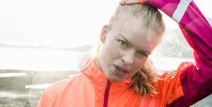 Sporty woman in neon sportswear