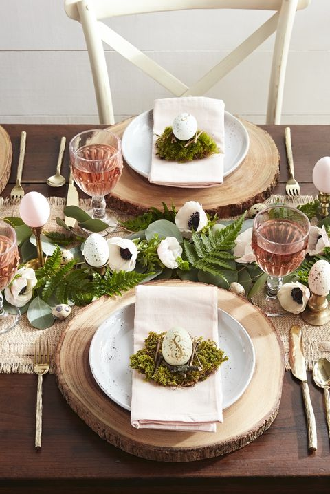 woodland themed easter brunch table setting