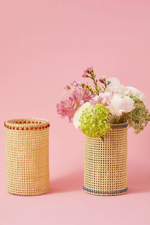 woven vase spring centerpiece