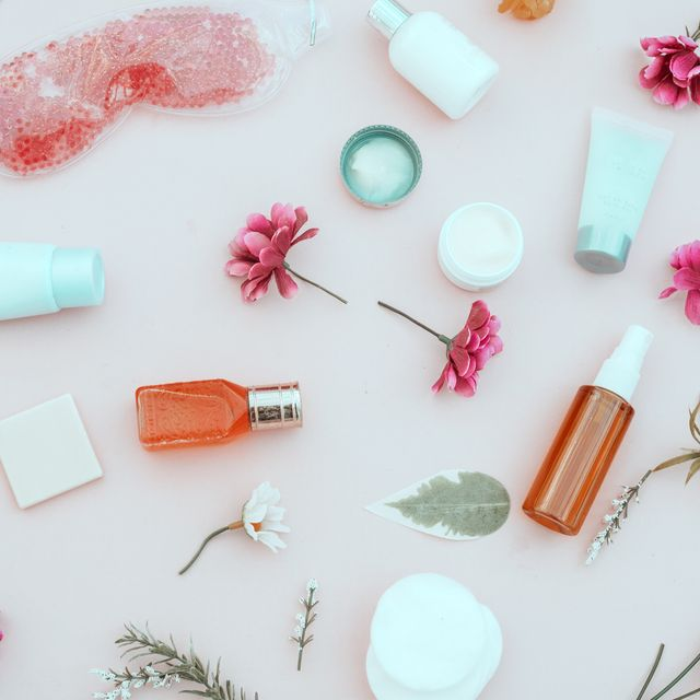 spring composition of cosmetic and  beauty cream products,Top view