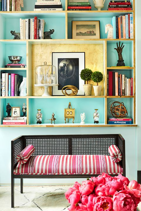 Furniture, Room, Pink, Shelf, Living room, Red, Turquoise, Shelving, Interior design, Home,