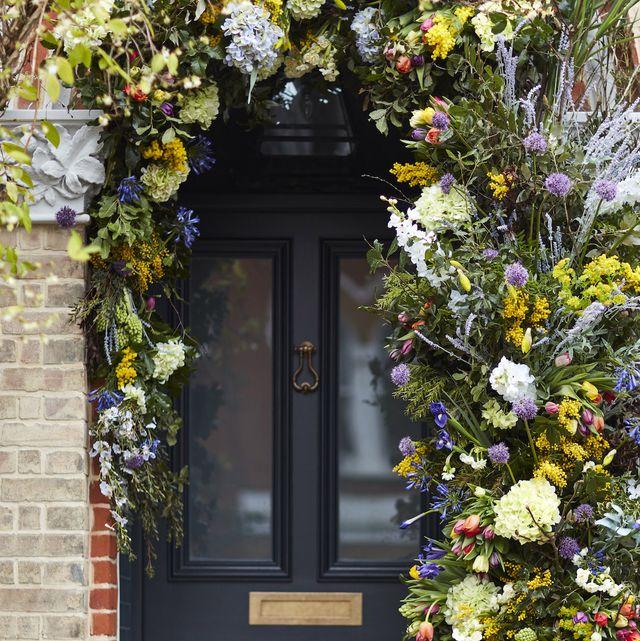 easter decoration, spring  easter themed floral front door display