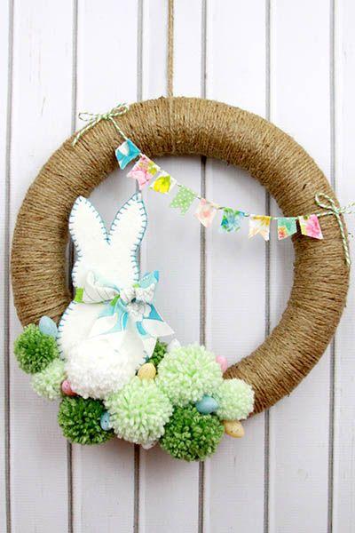 Easter wreath - Easter Pom Pom Wreath