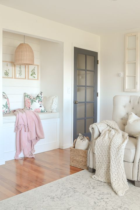 Room, Furniture, White, Property, Interior design, Floor, Bedroom, Yellow, Home, Wood flooring,