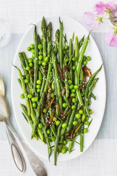 spring recipes - lemony asparagus, green beans and peas