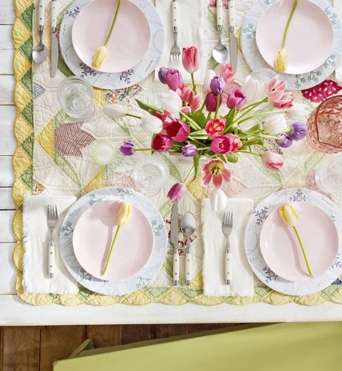 spring themes tulip party table setting