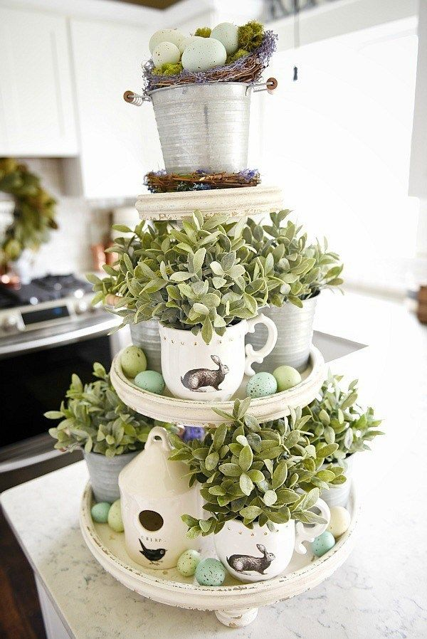 spring three tiered tray easter table decoration
