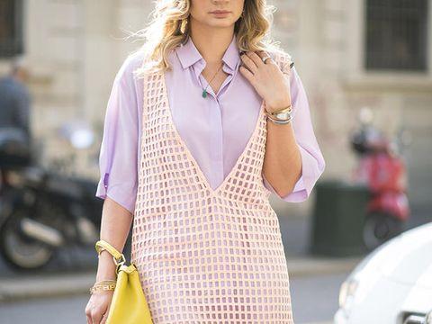 Clothing, White, Street fashion, Dress, Pink, Fashion, Yellow, Neck, Sleeve, Fashion model,