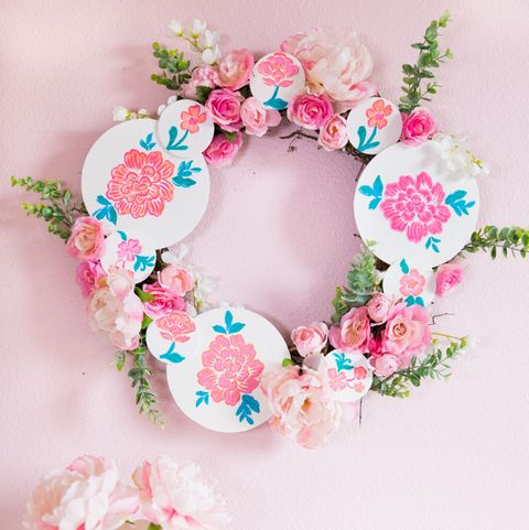 floral painted wood circle spring wreath