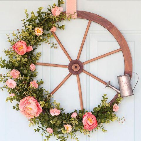 Spring Wreath - Wagon Wheel Wreath