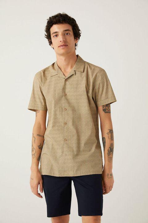 camisa manga corte hombre cuello bowling