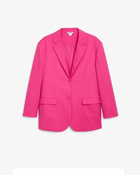 blazer in bright fuchsia pink by monki   £50