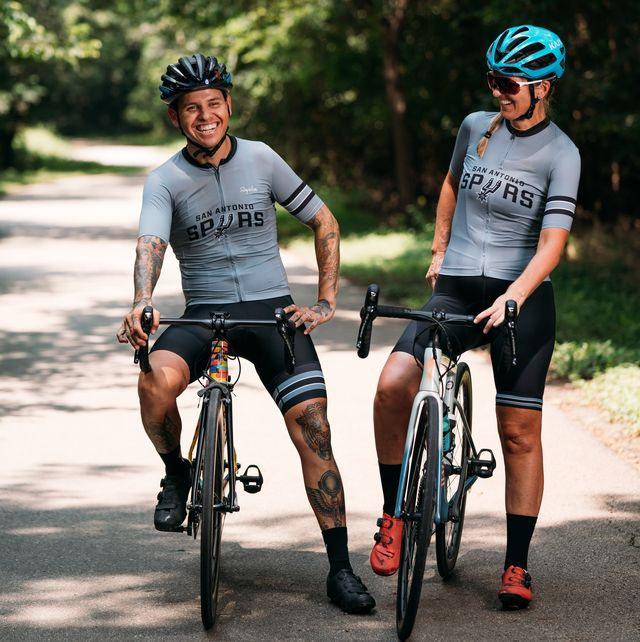 may 3, 2021 san antonio, tx marco and rachel wearing their core edition spurs x rapha gear at the oakwell trailhead park in san antonio, texasfriday, may 3, 2021 photo by isaiah alonzosan antonio spurs