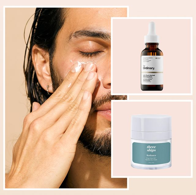 man rubbing skincare product on face, the ordinary squalane and three sips squalane day cream
