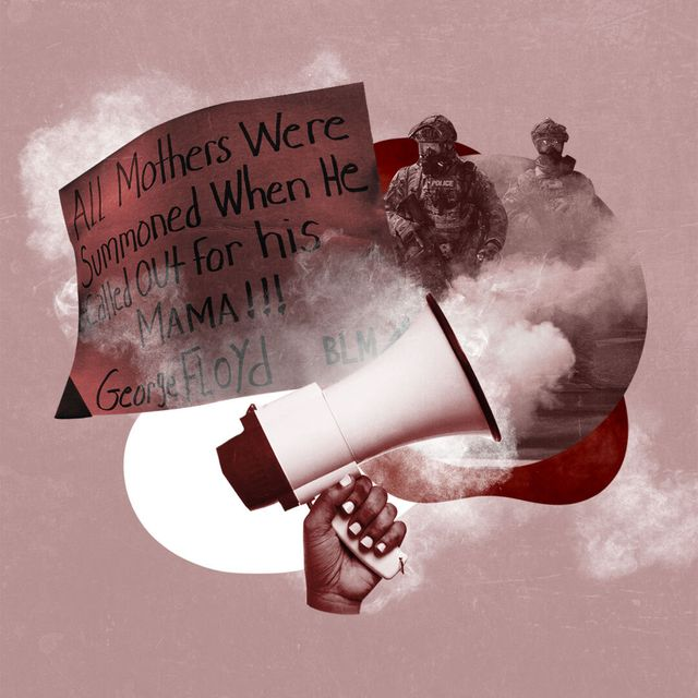 """collage showing hand that holds bull horn, officers in military gear, smoke, and a sign that reads, 'all mothers were summoned when he called out for his mama george floyd blm"""""""