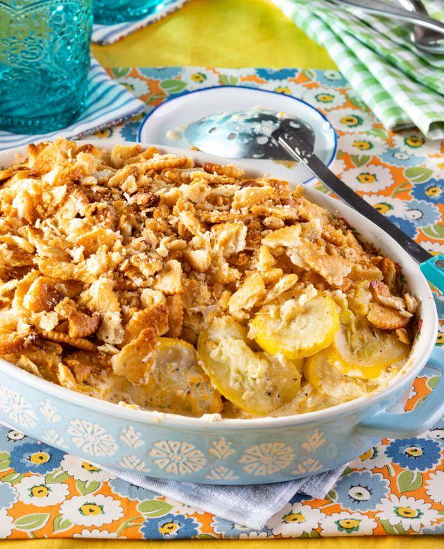 squash casserole recipe with spoon