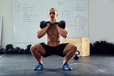 Squats with kettlebells