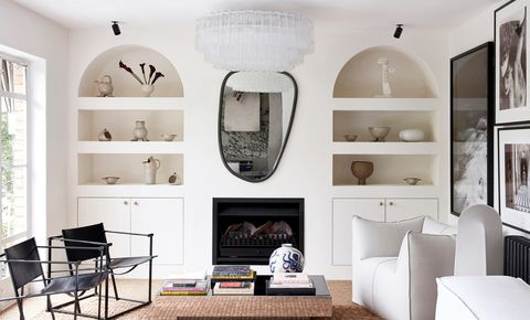 Living room, White, Room, Interior design, Furniture, Ceiling, Property, Wall, Building, Black-and-white,