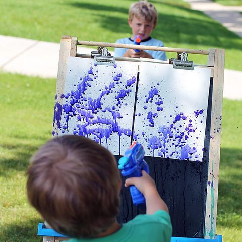 Summer Activities for Kids - squirt gun painting