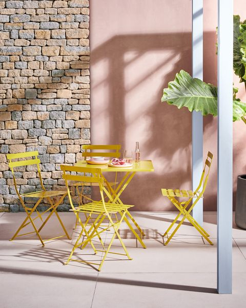 Parc Saffron Yellow Metal Folding Garden Table And 4 Chairs, Habitat
