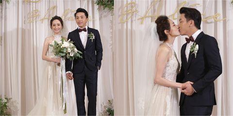 Bride, Wedding dress, Photograph, Gown, Dress, Facial expression, Bridal clothing, Formal wear, Ceremony, Wedding,