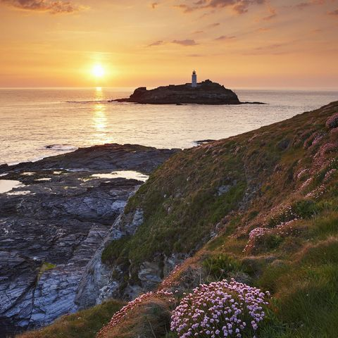 mandatory credit photo by helen dixonthe travel libraryshutterstock 1235915aview to godrevy lighthouse at sunset st ives   near cornwall uk   englandtravel stock