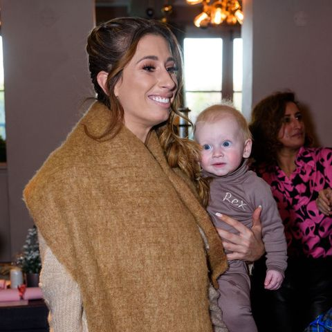 Stacey Solomon and Rex cheer on Joe Swash in adorable matching coats
