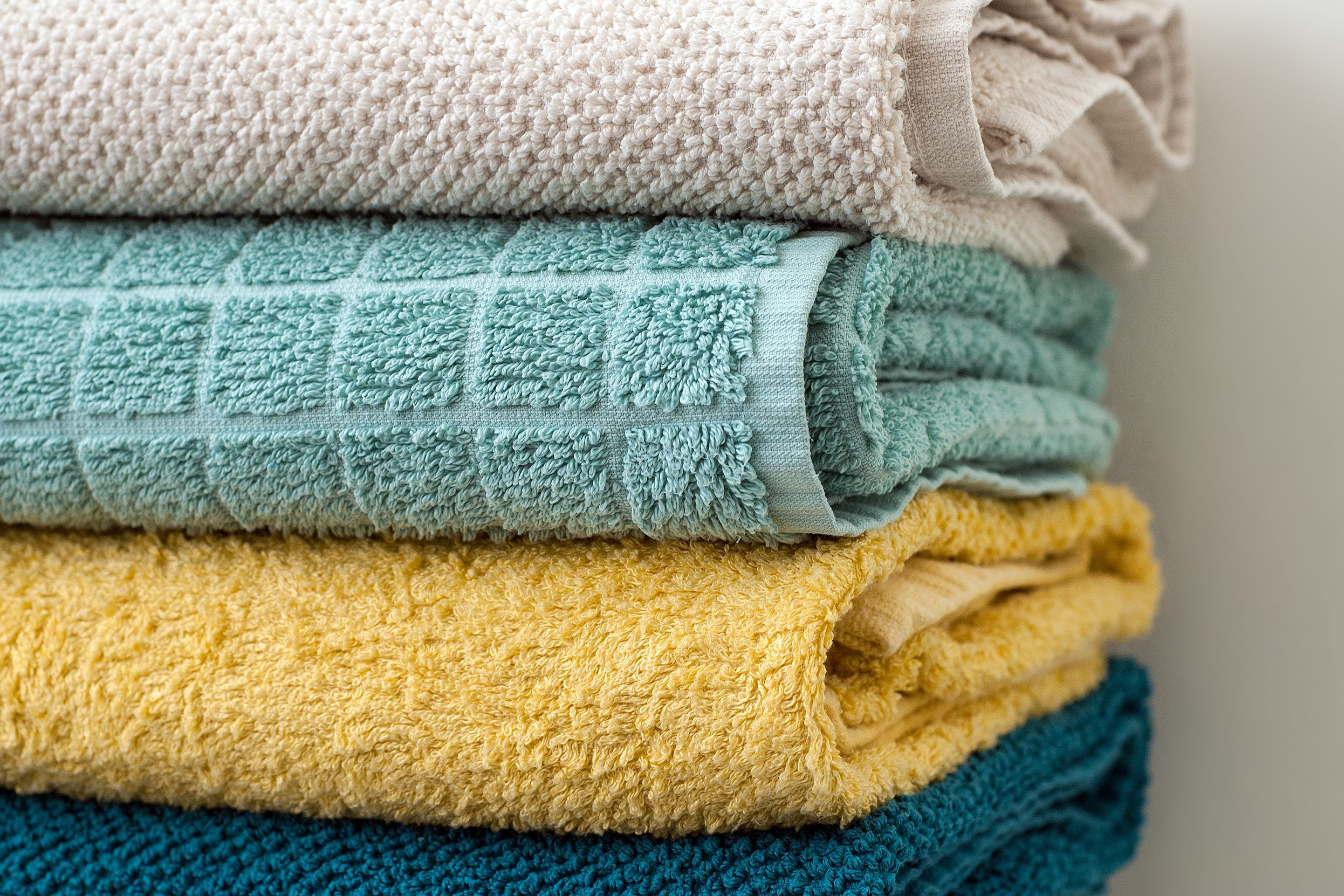 Stack of folded bath towels