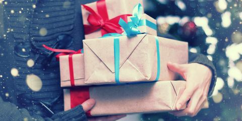 stack of gifts for Christmas holidays
