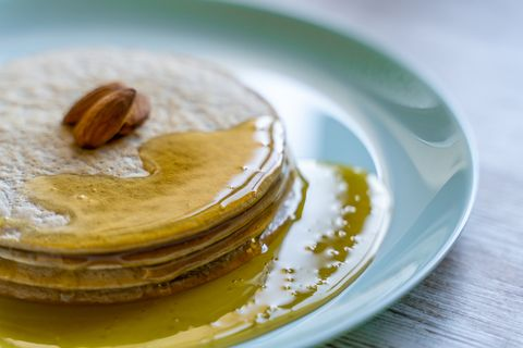 almond flour stack of pancakes with honey and almonds