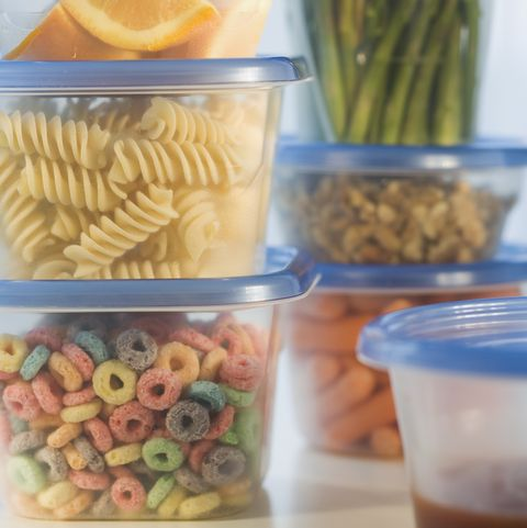 Stacked plastic containers of food