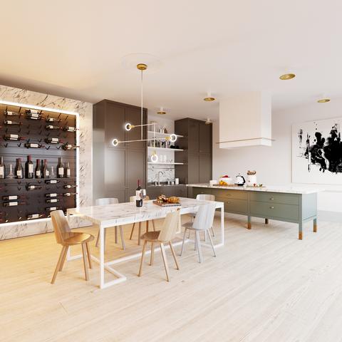 Interior design, Room, Furniture, Property, Floor, Building, Table, Dining room, Flooring, Wood flooring,