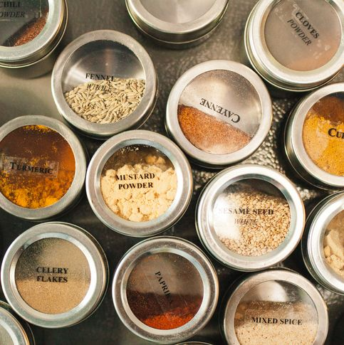stainless steel jars with spices