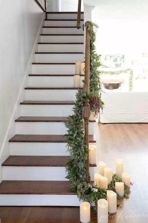 staircase christmas decorations candles