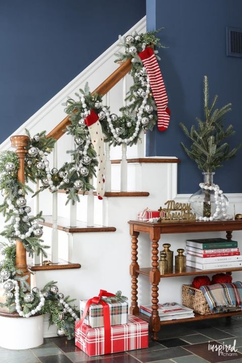 staircase christmas decorations white