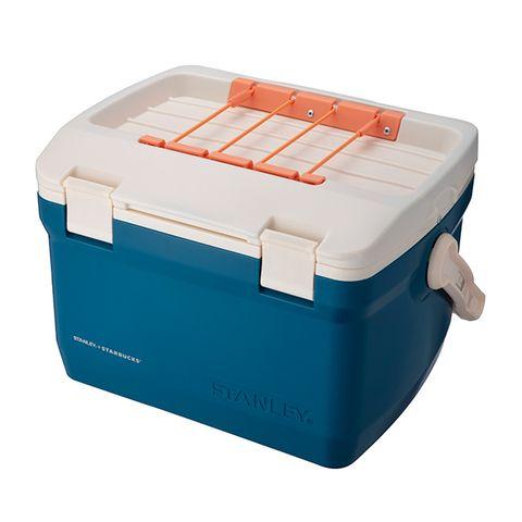 藍色與橘色的星巴克可提式冰桶
