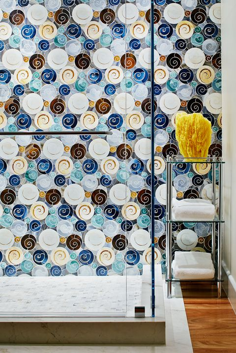 Blue, Interior design, Wall, Room, Tile, Wallpaper, Design, Textile, Pattern, Architecture,
