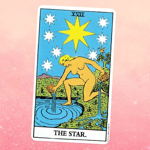 the tarot card for the star, showing a nude white woman with blonde hair kneeling in front of a pond, pouring two pitchers of water on the ground, with a giant star in the sky behind her