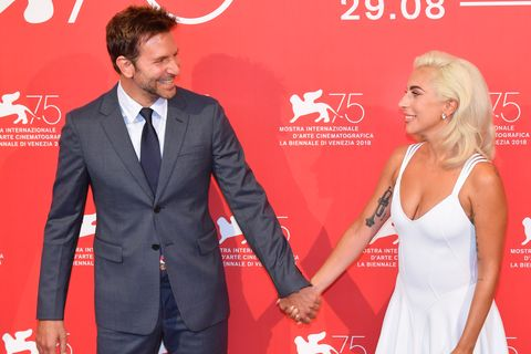 venice, italy   august 31  bradley cooper lady gaga attend a star is born photocall during the 75th venice film festival at sala casino on august 31, 2018 in venice, italy  photo by stephane cardinale   corbiscorbis via getty images