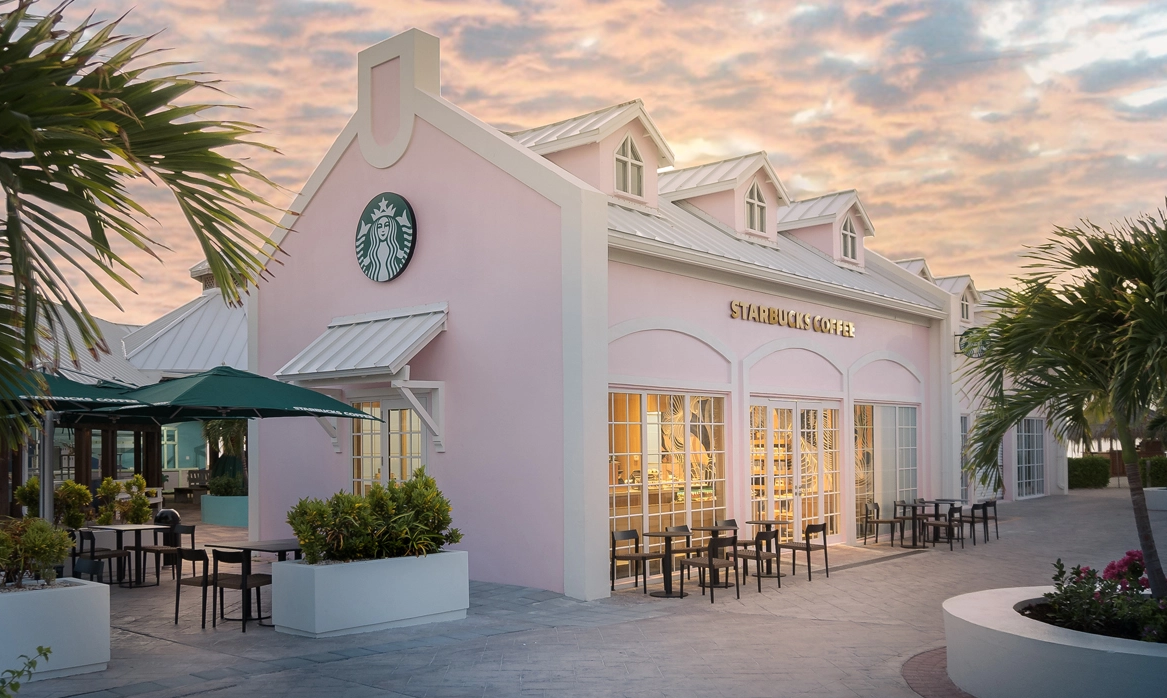 Starbucks Opened Its First-Ever Store In Turks & Caicos And It's A Pretty Pink Paradise