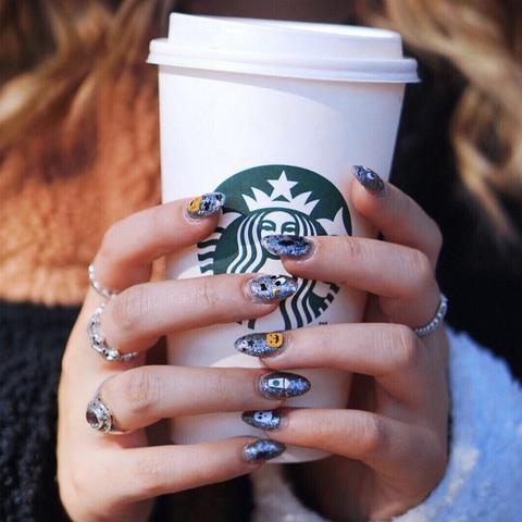 Starbucks Pumpkin E Latte Nail Decals