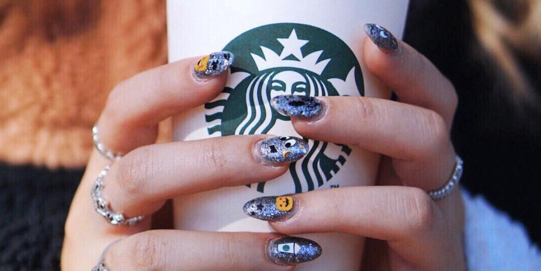 Nail Art Starbucks And Skinnydip London Created Pumpkin E Latte Decals