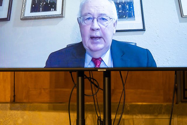 washington, dc   december 16 attorney kenneth w starr is seen on a monitor as he testifies remotely before a senate homeland security and governmental affairs hearing to examine claims of voter irregularities in the 2020 election in the dirksen senate office building on december 16, 2020 in washington, dc us president donald trump continues to push baseless claims of voter fraud during the presidential election, which the department of homeland security called the most secure in american history photo by jim lo scalzo poolgetty images