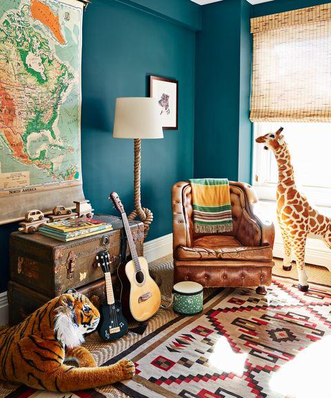Giraffe, Room, Living room, Green, Interior design, Giraffidae, Furniture, Turquoise, Bedroom, Aqua,