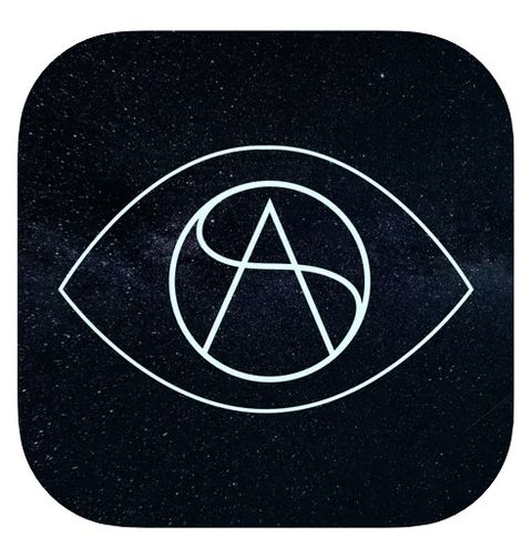 the logo for the dating app stars align, showing an outline of an eye with the letters sa inside