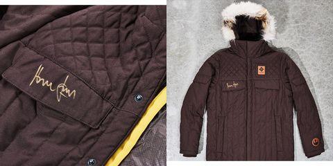 Clothing, Jacket, Outerwear, Hood, Parka, Fur, Coat, Sleeve, Brand, Overcoat,
