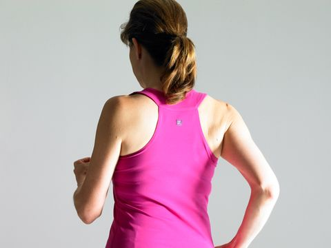 Clothing, Undershirt, Shoulder, Sleeveless shirt, Sportswear, Joint, Elbow, Magenta, Active tank, Pink,