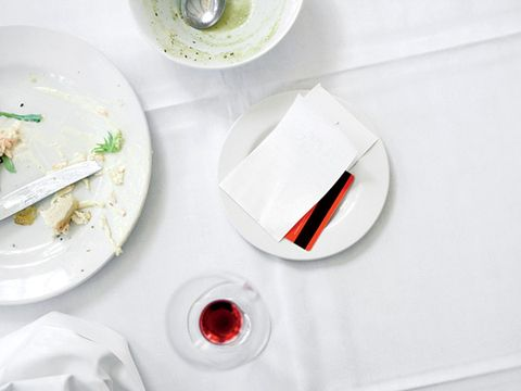 Empty plates on table